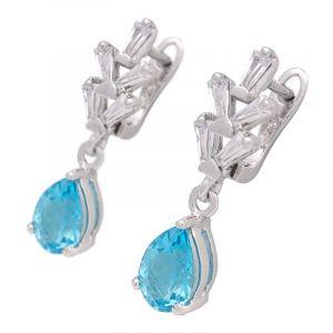 Stříbrné náušnice s Swiss Blue topazy a zirkony Ag 3,8 g | SoNo spol. s r.o.
