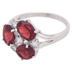 Stříbrný prsten s granáty a zirkony Ag 3,8 g