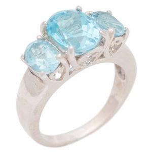 Stříbrný prsten s Sky Blue topazy Ag 6,6 g