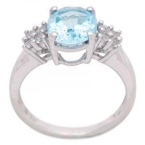 Stříbrný prsten s Sky Blue topazem a zirkony Ag 3,8 g