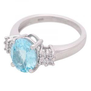 Stříbrný prsten s Sky Blue topazem a zirkony Ag 3,8 g | SoNo spol. s r.o.
