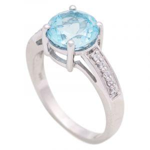 Stříbrný prsten s Sky Blue topazem a zirkony Ag 4,3 g | SoNo spol. s r.o.