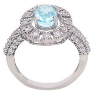 Stříbrný prsten Sky Blue topaz a zirkony Ag 4,8 g