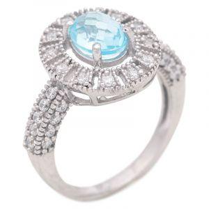 Stříbrný prsten s Sky Blue topazem a zirkony Ag 4,8 g