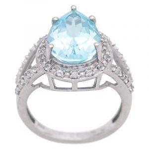 Stříbrný prsten s Sky Blue topazem a zirkony Ag 6,5 g