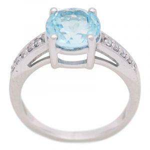 Stříbrný prsten Sky Blue topaz a zirkony Ag 4,3 g