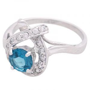 Stříbrný prsten s Swiss Blue topazem a zirkony Ag 3,5 g | SoNo spol. s r.o.