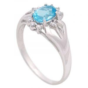 Stříbrný prsten s Swiss Blue topazem a zirkony Ag 2,9 g | SoNo spol. s r.o.