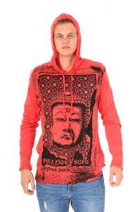 Pánská mikina Sure s kapucí Buddha respect červená | SoNo spol. s r.o.