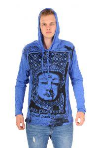Pánská mikina Sure s kapucí Buddha respect modrá