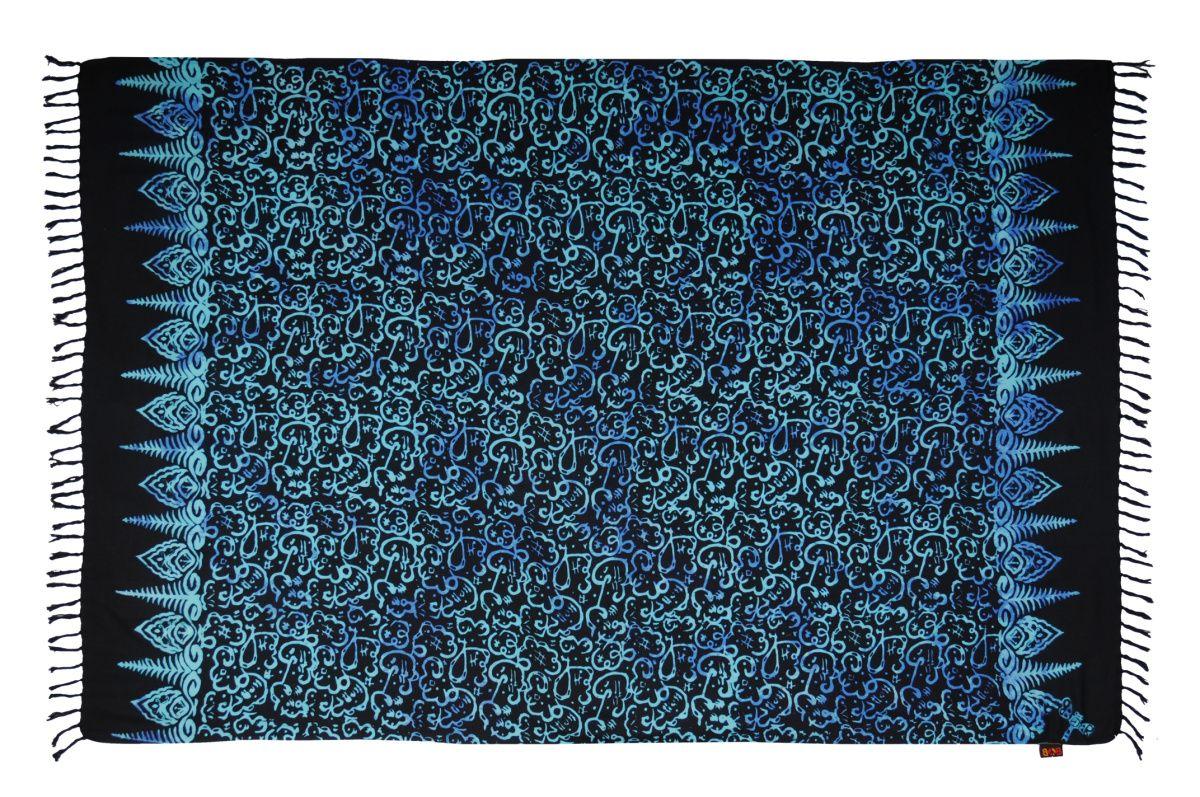 Plážový šátek sarong, pareo Disco černo-modrý