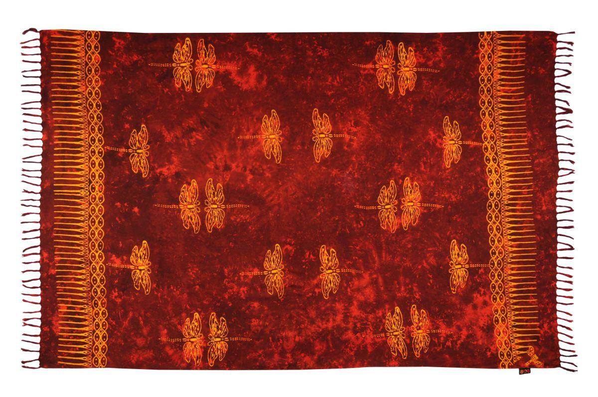Plážový šátek sarong, pareo Vážka červený