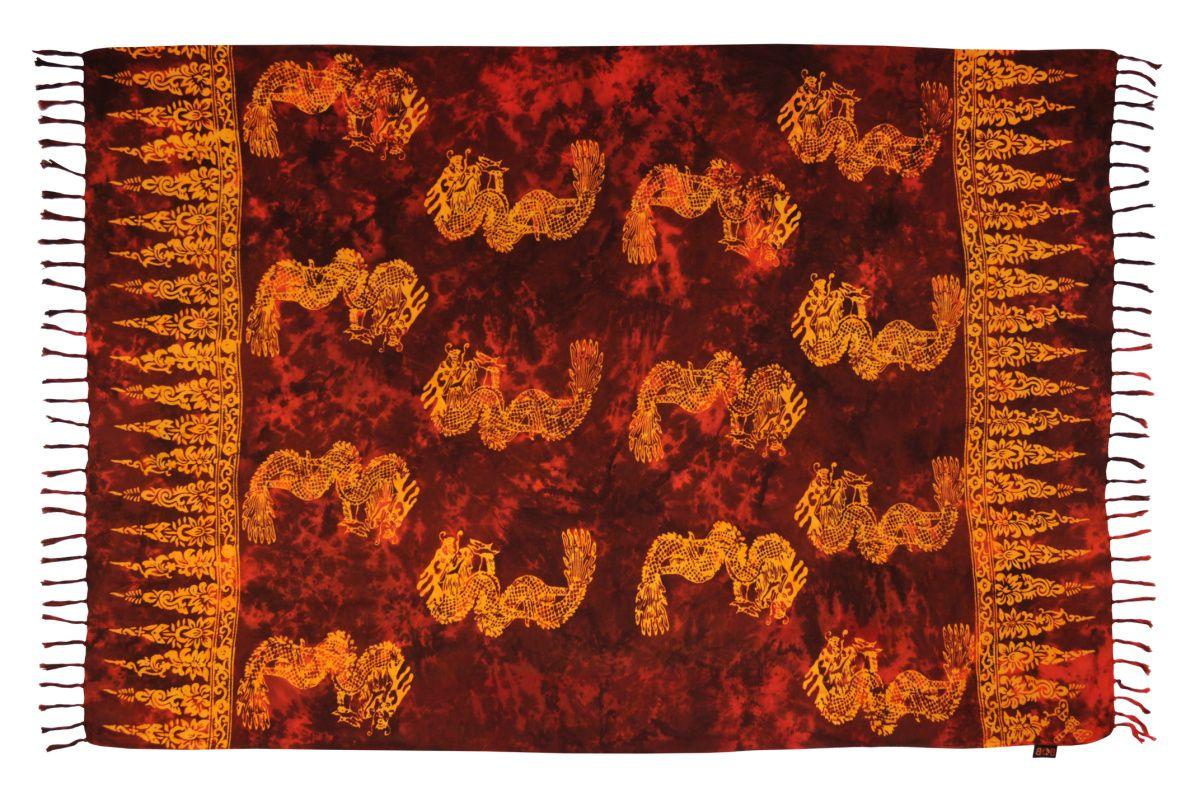 Plážový šátek sarong, pareo Drak červený