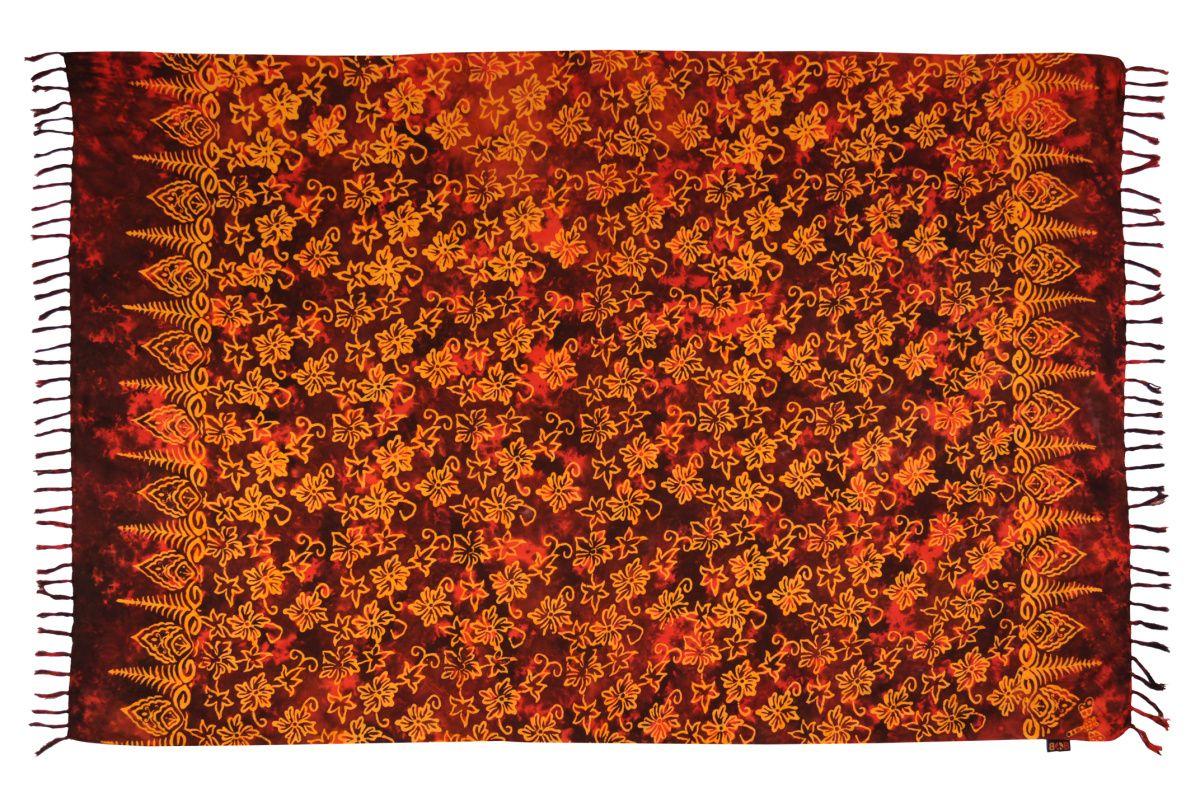 Sarong batikovaný, pareo BOB Batik, Květy červený | SoNo spol. s r.o.
