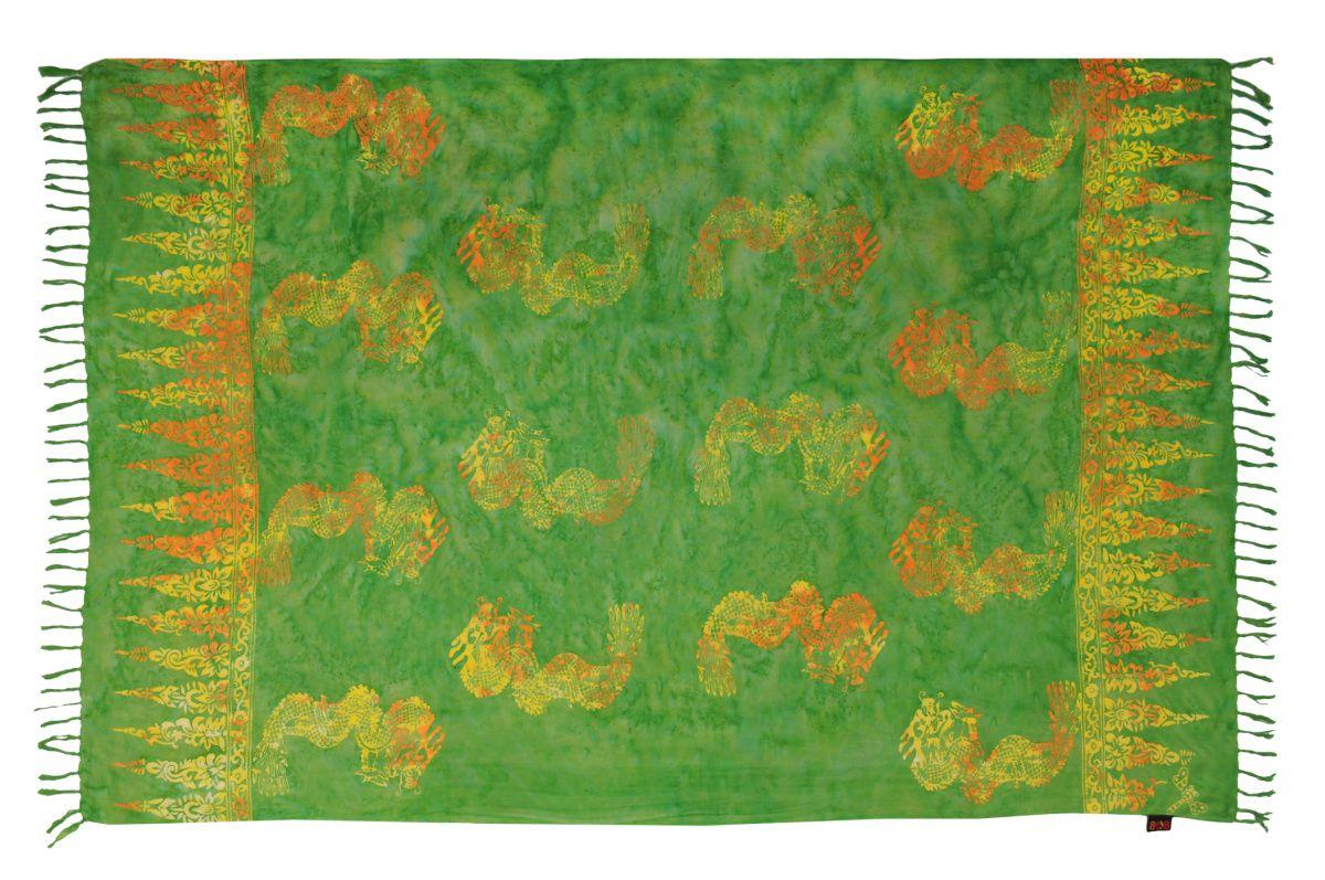 Plážový šátek sarong, pareo Drak zelený