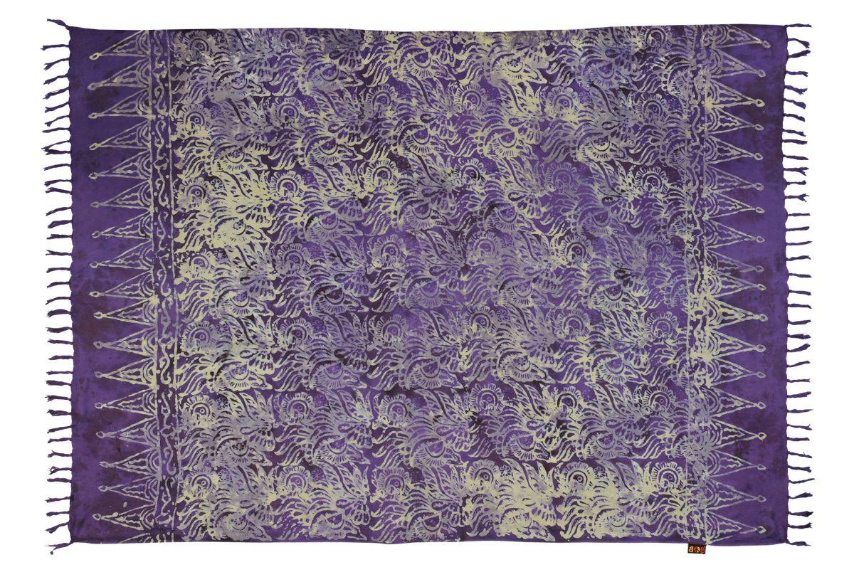 Plážový šátek sarong, pareo Džungle fialový
