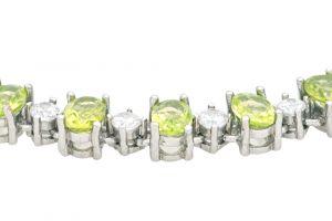 Stříbrný náramek s olivíny a zirkony Ag 14,3 g