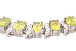 Stříbrný náramek s olivíny a zirkony Ag 17,9 g