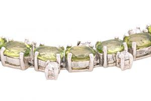 Stříbrný náramek s olivíny a zirkony Ag 29,9 g