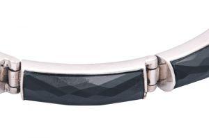 Stříbrný náramek s onyxy Ag 24,8 g