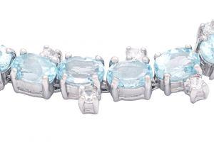 Stříbrný náramek s Sky Blue topazy a zirkony Ag 31,3 g