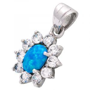 Stříbrný přívěsek opál a zirkony Ag 3,2 g modrý