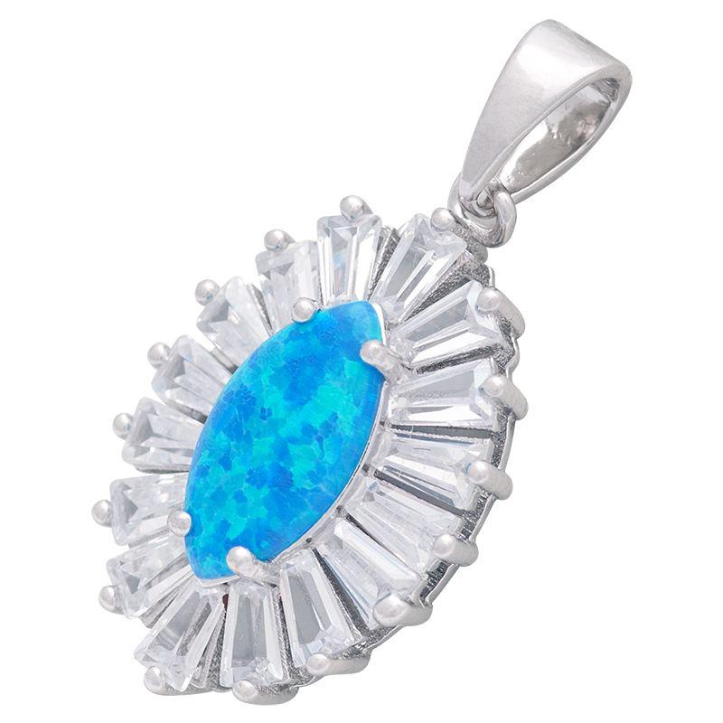 Stříbrný přívěsek s opálem a zirkony Ag 3,1 g modrý | SoNo spol. s r.o.