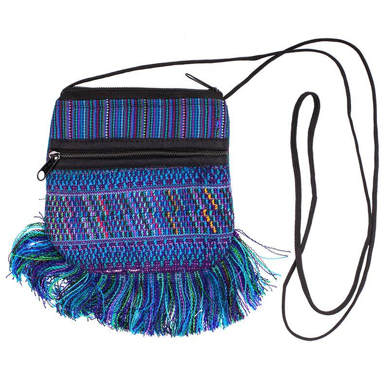 Bavlněná kapsa na krk vyšívaná tkaná 13 x 12 cm B