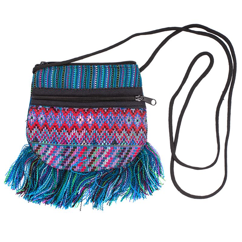Bavlněná kapsa na krk vyšívaná tkaná 13 x 12 cm C