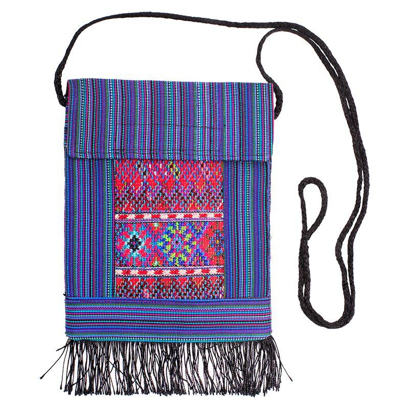 Bavlněná kapsa na krk vyšívaná tkaná 16 x 20 cm D