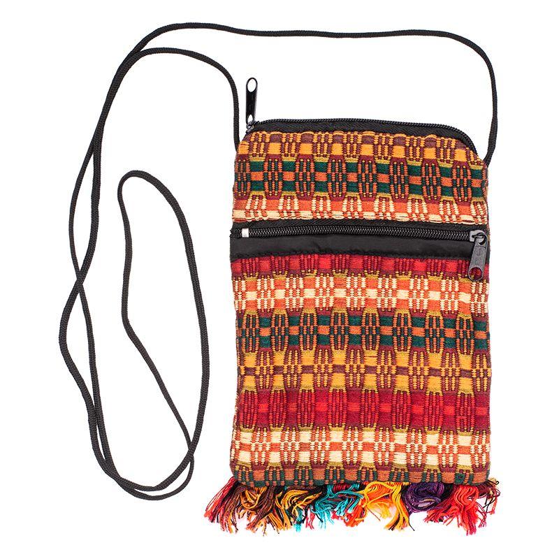 Bavlněná kapsa na krk vyšívaná tkaná 17 x 12 cm C