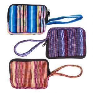 Bavlněná peněženka vyšívaná tkaná 13 x 10 cm s poutkem D