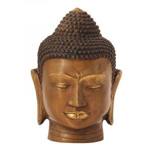 Soška Buddhova hlava kov 22 cm