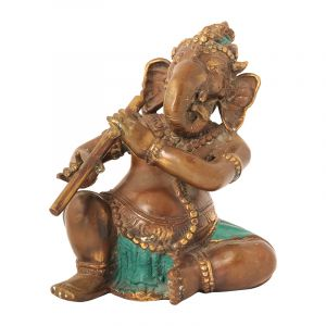 Soška Ganesh kov 19 cm muzikant