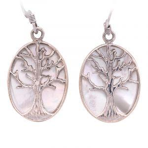 Stříbrné náušnice perleť Ag 6,9 g strom