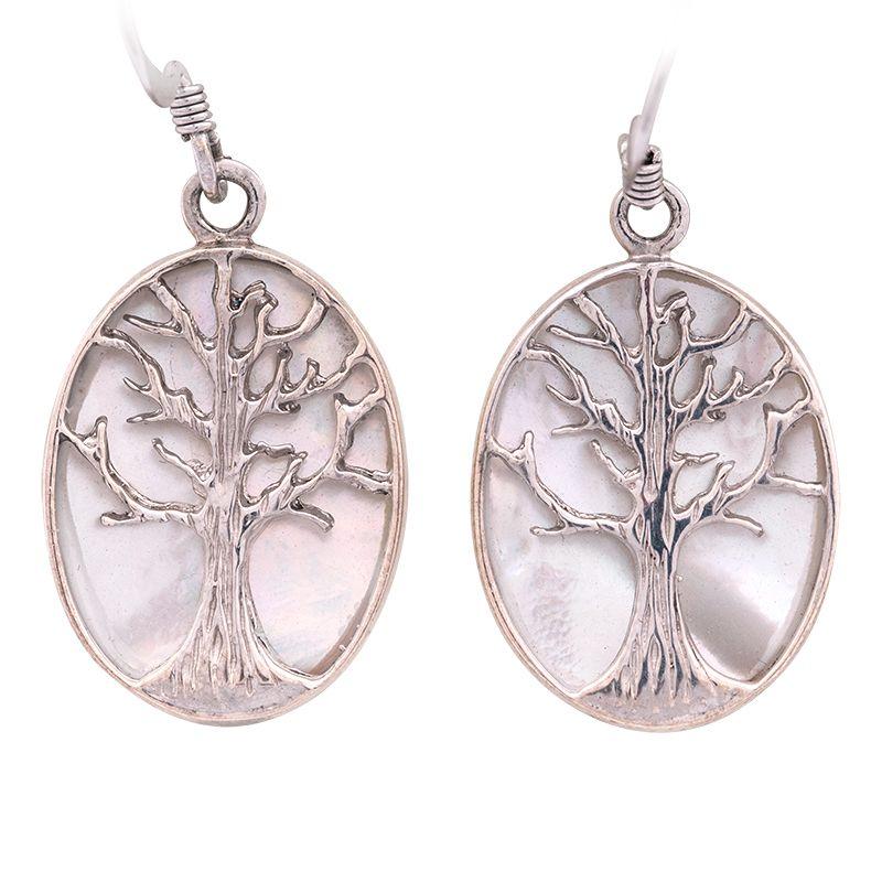Stříbrné náušnice s perletí Ag 6,9 g strom | SoNo spol. s r.o.