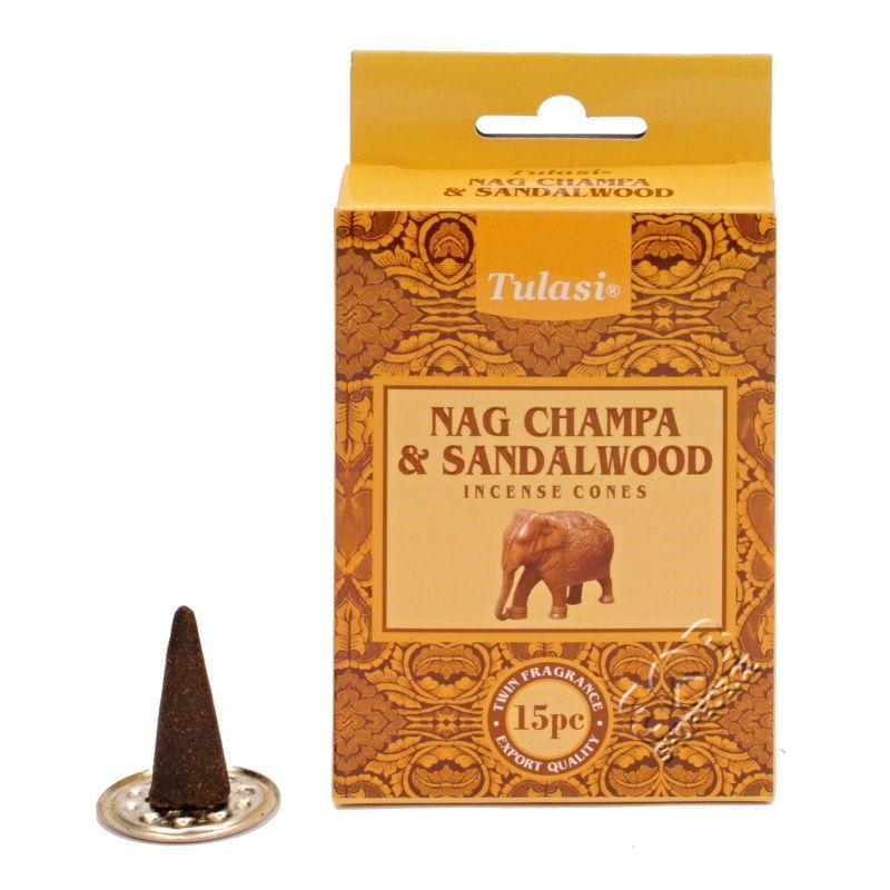 Tulasi Nag Champa Sandalwood indické vonné františky 15 ks