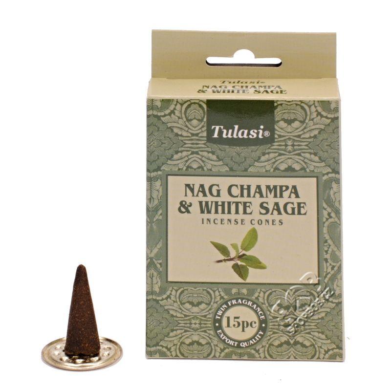 Tulasi Nag Champa White sage indické vonné františky 15 ks