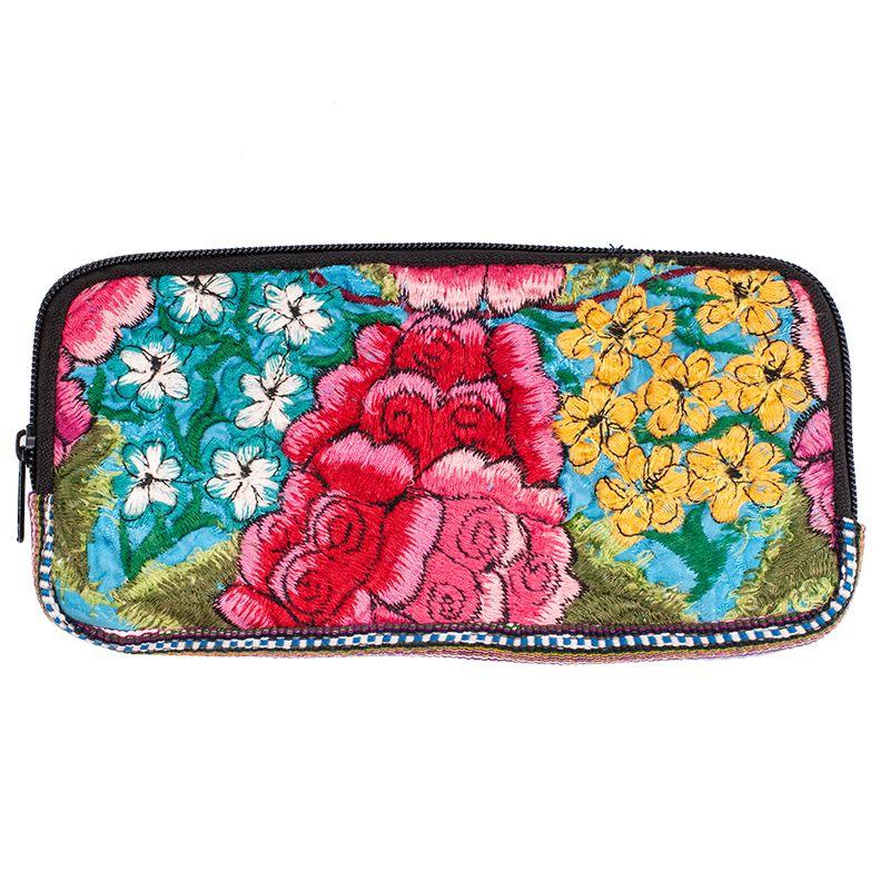 Bavlněná peněženka vyšívaná tkaná 20 x 10 cm E