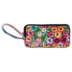 Bavlněná peněženka vyšívaná tkaná 20 x 10 cm s poutkem C