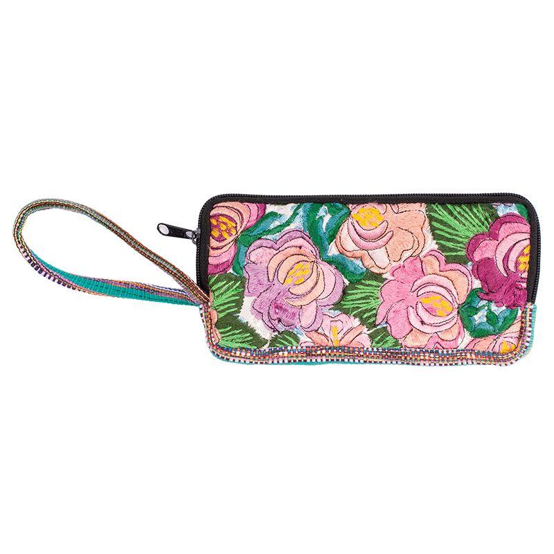 Bavlněná peněženka vyšívaná tkaná 20 x 10 cm s poutkem D