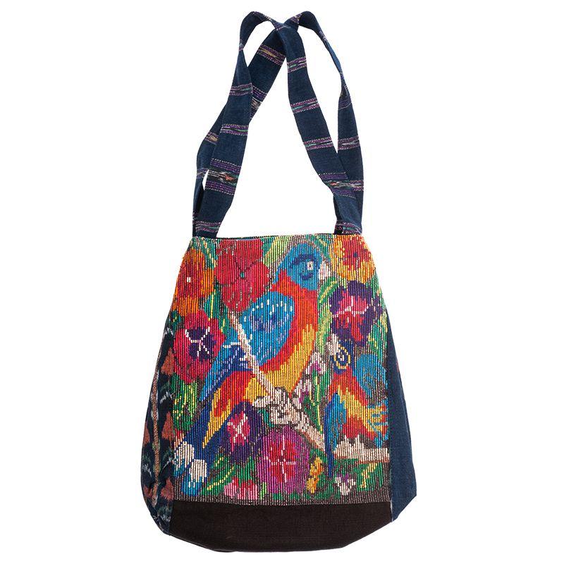 Bavlněná taška vyšívaná barevná 32 x 32 cm dvě uši C | SoNo spol. s r.o.