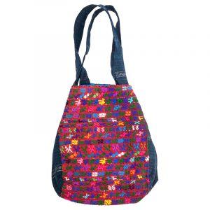 Bavlněná taška vyšívaná barevná 32 x 32 cm dvě uši D