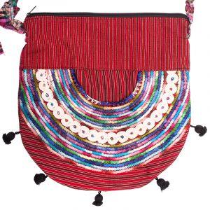Dámská bavlněná taška přes rameno vyšívaná barevná 35 x 35 cm C