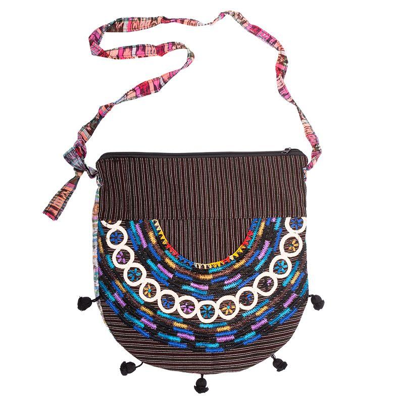 Dámská bavlněná taška přes rameno vyšívaná barevná 35 x 35 cm D