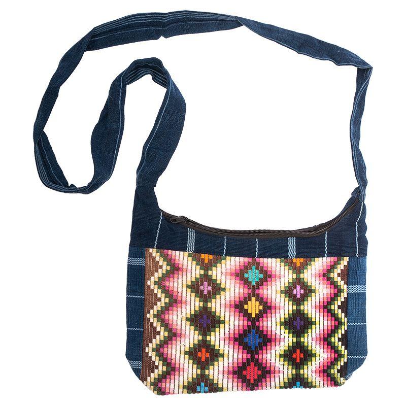 Dámská bavlněná taška přes rameno vyšívaná barevná 23 x 30 cm A | SoNo spol. s r.o.