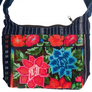 Dámská bavlněná taška přes rameno vyšívaná barevná 23 x 30 cm C