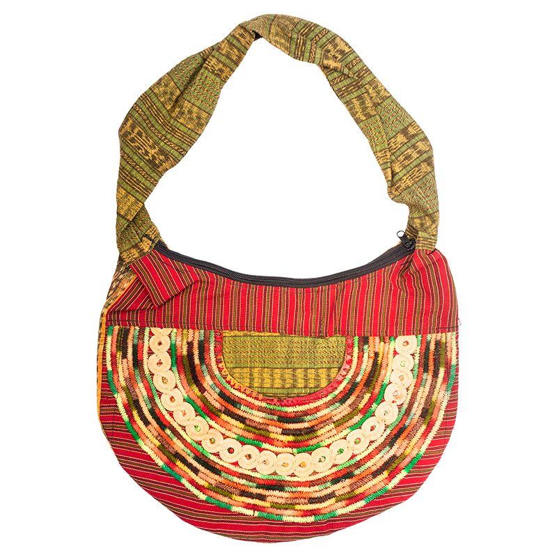 Dámská bavlněná taška vyšívaná barevná 35 x 25 cm D