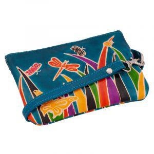Dámská kožená peněženka s poutkem Louka modrá
