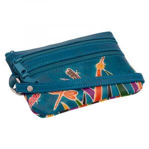 Kožená peněženka s poutkem Louka modrá